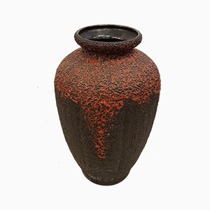 Vintage German Ceramic Fat Lava Floor Vase from Wilhelm Fohr, 1970s