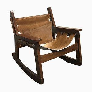 Rocking Chair Vintage en Cuir de Vache, Brésil, 1950s