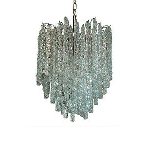 Lámpara de araña con 92 prismas de cristal de Murano, 1978