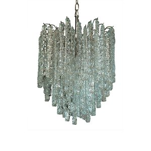 Murano Glass Icicle Chandelier with 92 Prisms, 1978