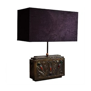 Art Nouveau Brass and Purple Silk Table Lamp by G.Niels, 1940s
