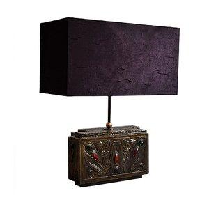 Tischlampe aus Messing & violetter Seide im Jugendstil von G.Niels, 1940er