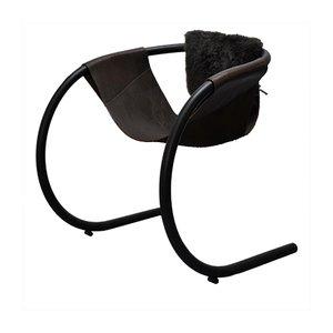 Vintage Stuhl aus Leder & Pelz