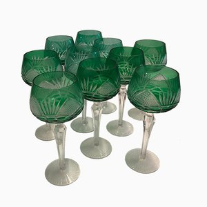 Bohemian Crystal Green Glasses, 1930s, Set of 10