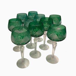 Grüne böhmische Gläser aus Kristallglas, 1930er, 10er Set