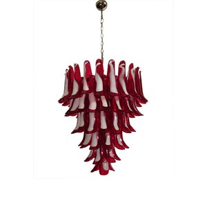 Red Murano Glass Chandelier, 1983