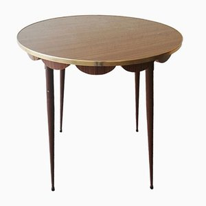 Mid-Century Round Formica & Iron Coffee Table