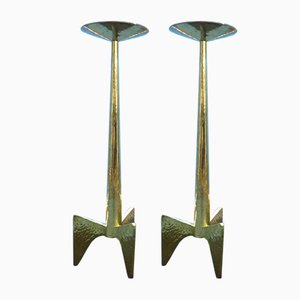 Brutalist Brass Church Candlestick, 1950s, Set of 2