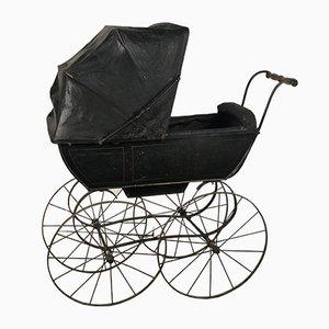 Antiker schwarzer Kinderwagen, 1900er