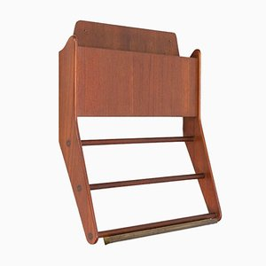 Danish Teak Wall Magazine Rack, 1960s