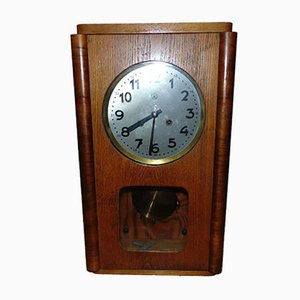 Vintage Wooden Hanging Clock from Predom Metron, 1960s