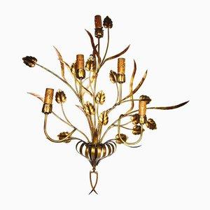 Große goldene Lampe aus Eisen, 1920er