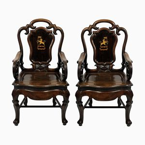 19th Century Anglo Chinese Armchairs, 1830s, Set of 2