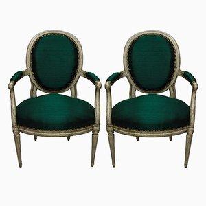 Antike französische Armlehnstühle, 1780er, 2er Set