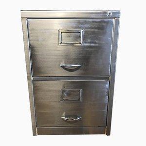 Vintage Stripped Metal 2 Drawer Filing Cabinet