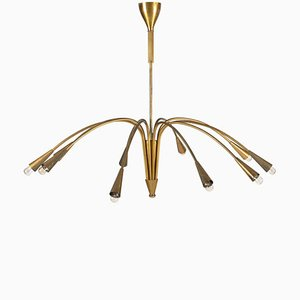 Mid-Century French Brass Chandelier