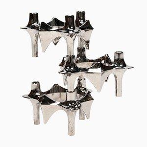 Stapelbare Vintage Kerzenhalter aus Chrom von Fritz Nagel, 3er Set