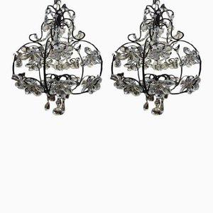 Lampadari antichi in vetro di Murano, set di 2