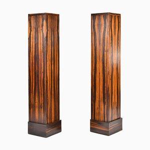 Art Deco Säulen aus Makassar-Ebenholz, 1930er, 2er Set