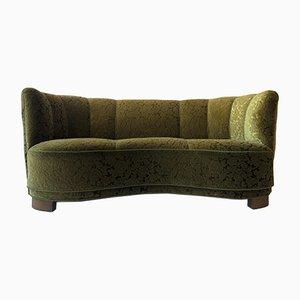 Danish Olive Green Velvet Banana Sofa, 1930s