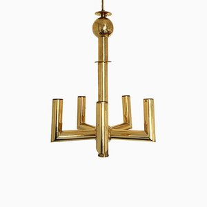 Five Branch Brass Pendant Lamp, 1970s