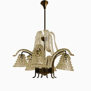 Art Deco Murano & Rostrato Glass Chandelier, 1920s