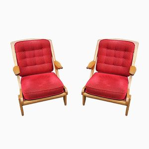 Armchairs by Guillerme et Chambron for Votre Maison, 1970s, Set of 2