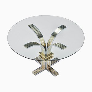 Vintage Chrome & Brass Dining Table from Banci & Firenze, 1970s