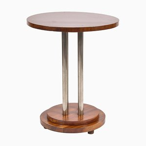 Art Deco Mahogany & Nickel Side Table