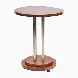Table d'Appoint Art Déco en Acajou et Nickel