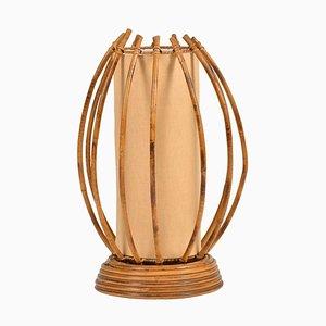 Französische Tischlampe aus Bambus & Rattan, 1950er