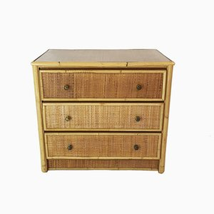 Bamboo & Rattan Chest of Drawers, 1980s