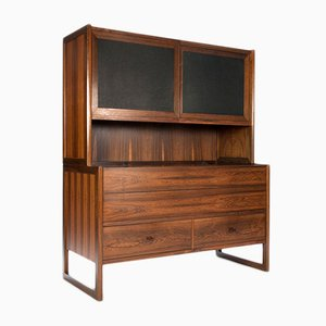 Vintage Danish Rosewood Cabinet with Black Leather Details