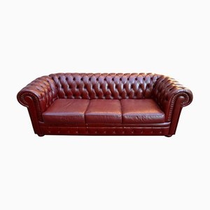 Leather 3-Seat Chesterfield Sofa, 1970s