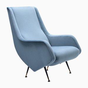 Blauer italienischer Sessel von ISA Bergamo, 1950er