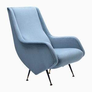 Italian Blue Armchair from ISA Bergamo, 1950s