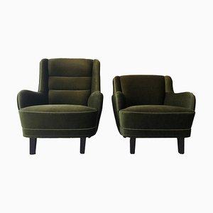 Danish Olive Green Velvet Lounge Chairs, 1960s, Set of 2