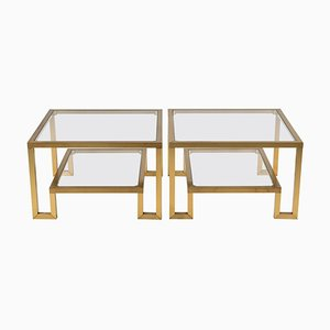French Two-Tiered Brass & Glass Side Tables, 1970s, Set of 2