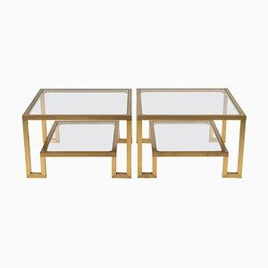 Tavolini in ottone e vetro, Francia, anni '70, set di 2