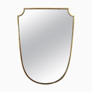 Brass Shield-Shaped Mirror, 1950s