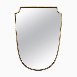 Spiegel mit schildförmigem Messingrahmen, 1950er