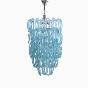 Lámpara de araña italiana en azul, años 70