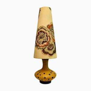 Large Mid-Century Ceramic Lamp with Floral Lampshade, 1950s