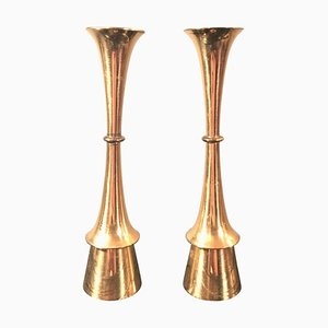 Vintage Danish Brass Candleholders, Set of 2