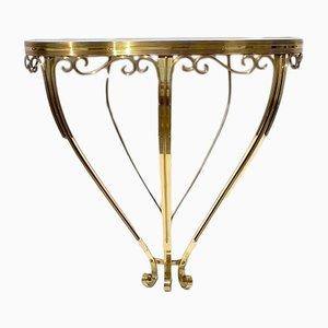Consola italiana de latón con superficie de vidrio, años 40