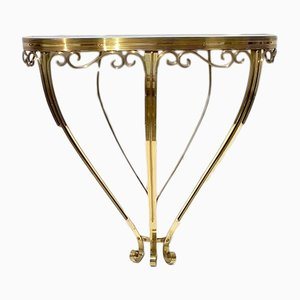 Italian Brass Console with Glass Top, 1940s