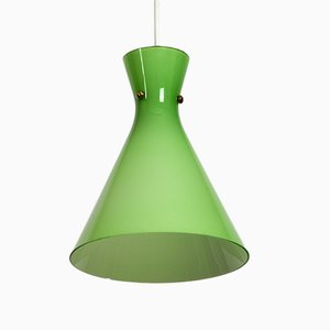 Lámpara colgante Diabolo austriaca Mid-Century de vidrio verde