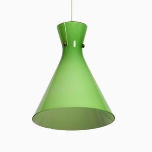 Österreichische Mid-Century Diabolo Hängelampe aus grünem Glas