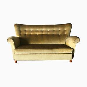 Sofá sueco de terciopelo dorado, años 40