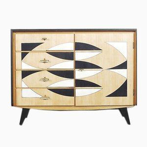 Handpainted German Oak Chest with Drawers for Musterring, 1960s